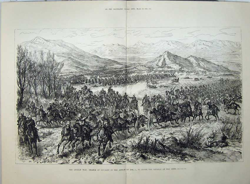 [Print Afghan War 1880 Cavalry Charge Army Horses Mountians 536Tn147 Old Original]