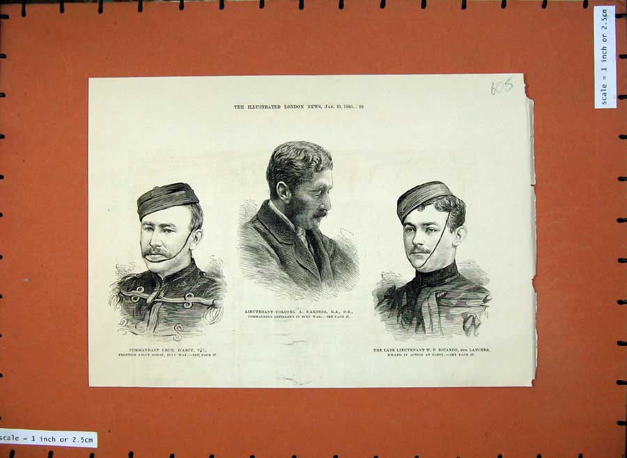[Print 1880 Colonel Harness War Ricardo Lancers Cecil D'Arcy 605N147 Old Original]