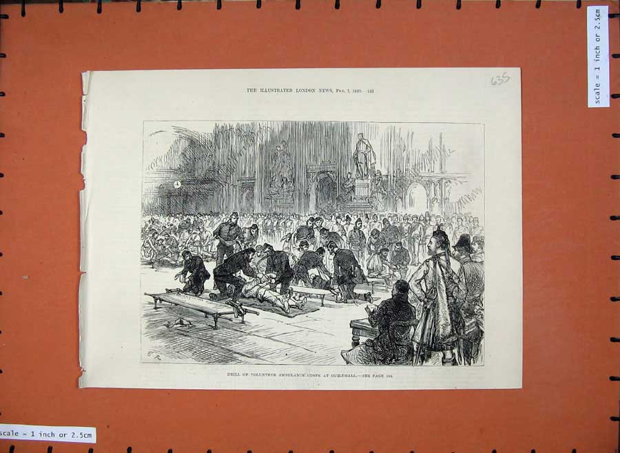 [Print 1880 Drill Volunteer Ambulance Corps Guildhall Army War 635N147 Old Original]