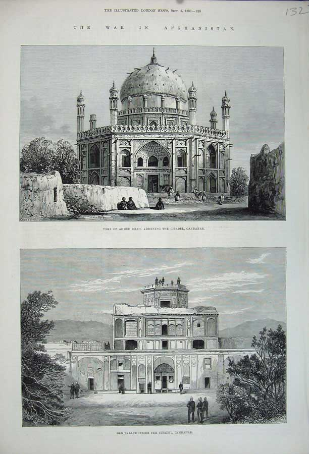 [Print 1880 War Afghanistan Tomb Ahmed Shah Candahar Palace 132N148 Old Original]