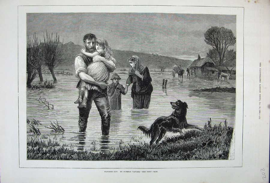 [Print 1880 Floods Family Children Country Dog House Tayler 202N148 Old Original]