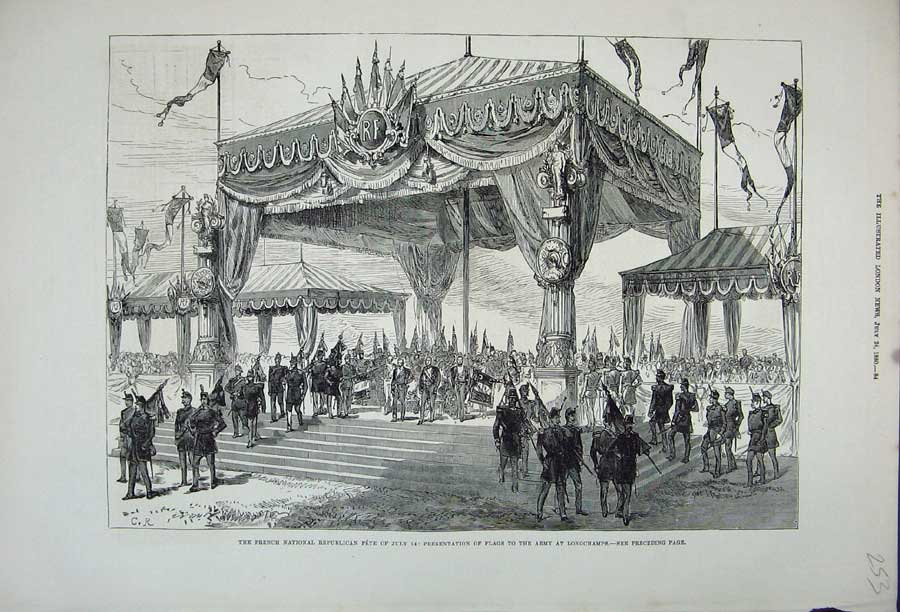 [Print 1880 French Republican Fete Flags Army Longchamps War 253N148 Old Original]