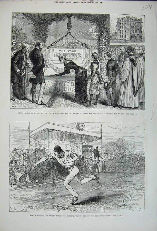 [Print Tennis Hartley 1880 Princess Wales Chelsea Hospital 254N148 Old Original]