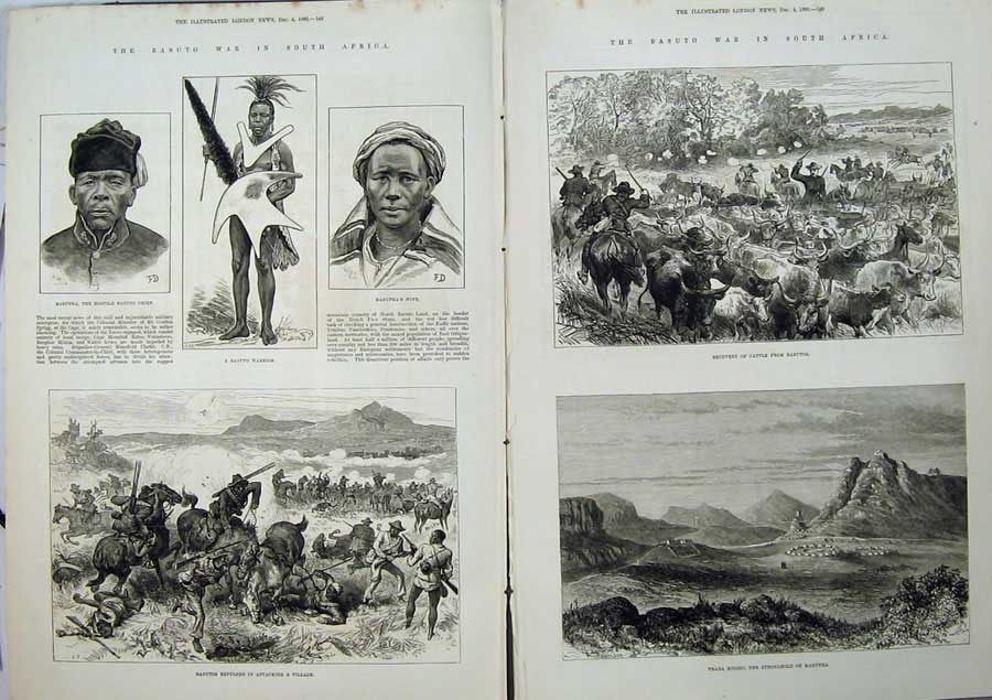 [Print Basuto War South Africa 1880 Cattle Masupha Warrior Men 504Tn148 Old Original]