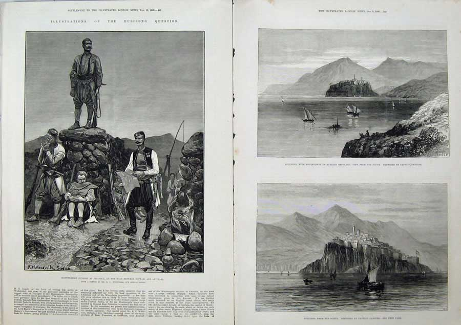 [Print 1880 Montenegro Pecorica War Dulcigno Ship Gambier Art 506Tn148 Old Original]