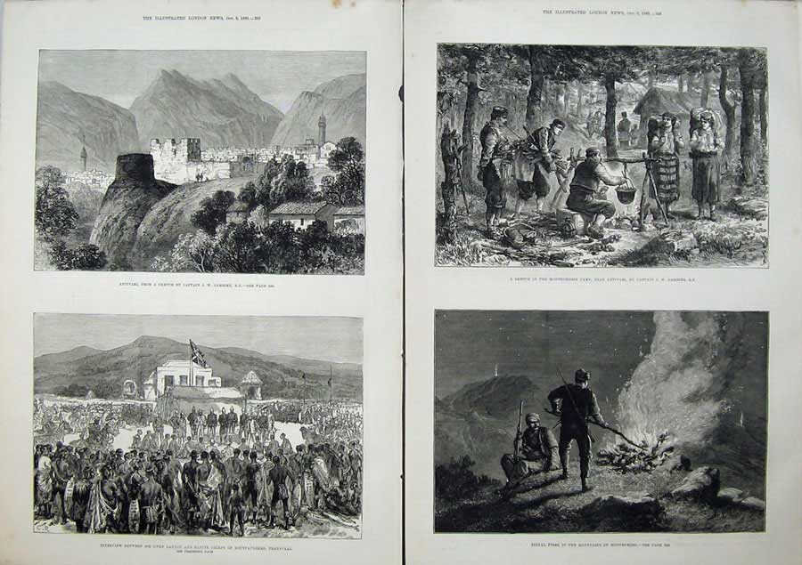 [Print 1880 Antivari Transvaal War Montenegro Mountains Art 510Tn148 Old Original]