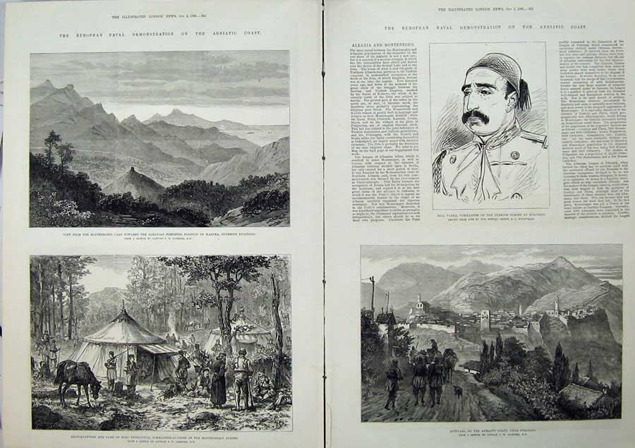 [Print Adriatic Coast 1880 Montenegro Riza Pasha Antivari War 512Tn148 Old Original]