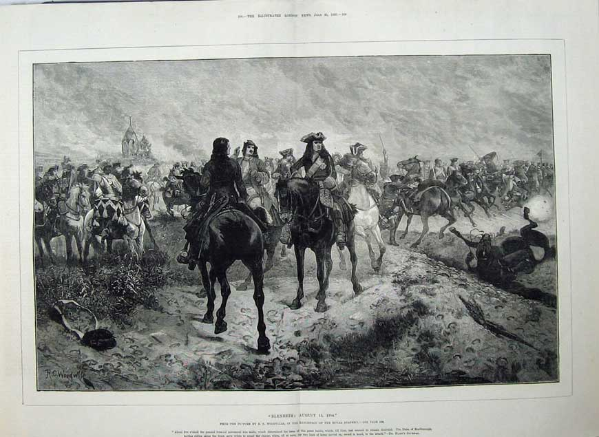 [Print 1880 War Blenheim Battle Army Soldiers Horses Fine Art 529Tn148 Old Original]