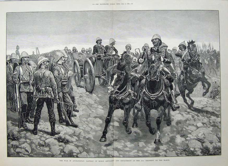 [Print 1880 War Afghanistan Battery Horse Artillery Army Art 531Tn148 Old Original]