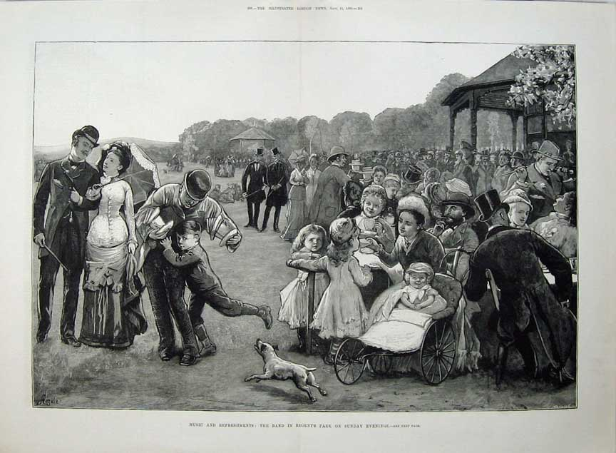 [Print 1880 Fine Art Music Band Regent'S Park Children Dog 540Tn148 Old Original]