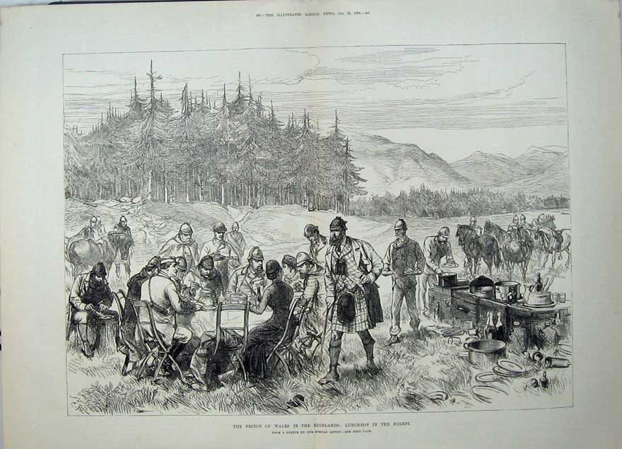 [Print Prince Wales Highlands Scotland Luncheon Forest War Men 550Tn148 Old Original]