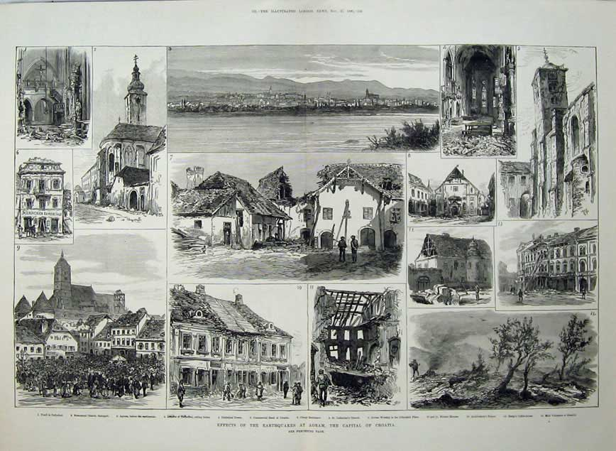 [Print 1880 Earthquakes Agram Croatia Tomb Cathedral Volcanoes 560Tn148 Old Original]
