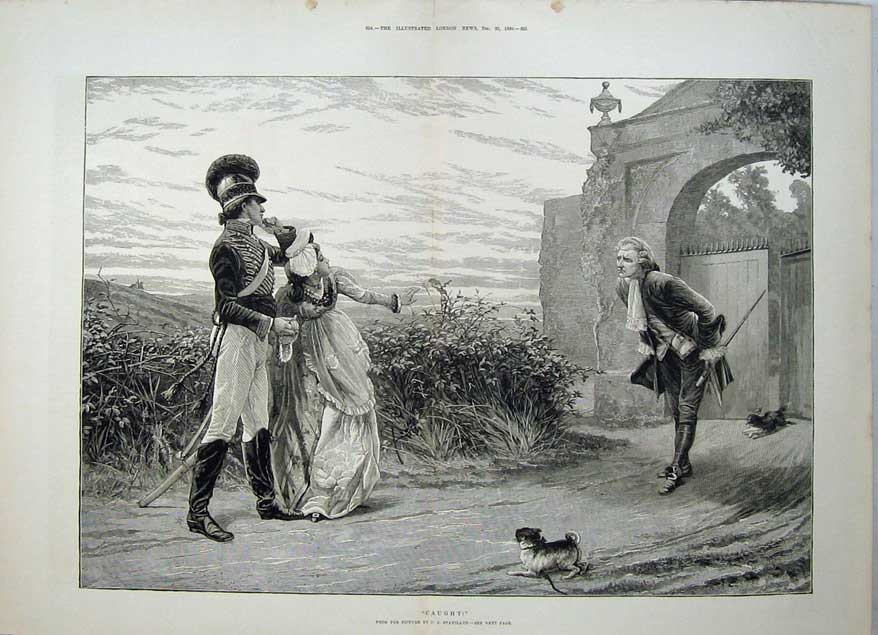 [Print 1880 Men Woman Romance Soldier Uniform Dog Stainland 565Tn148 Old Original]