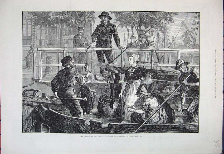 [Print 1881 Holland Dutch Canal Boat Dog Tourist Fine Art 315N150 Old Original]