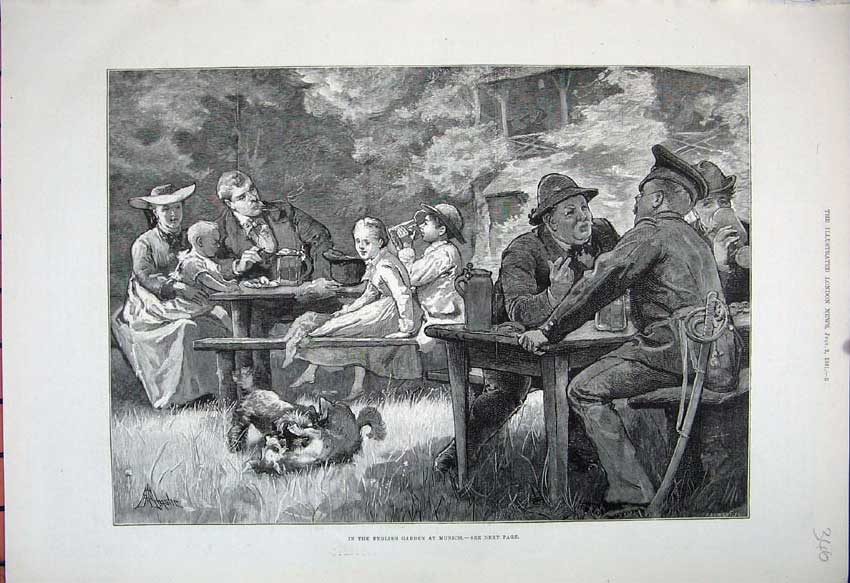 [Print 1881 English Garden Munich Families Dog Picnic Trees 346N150 Old Original]
