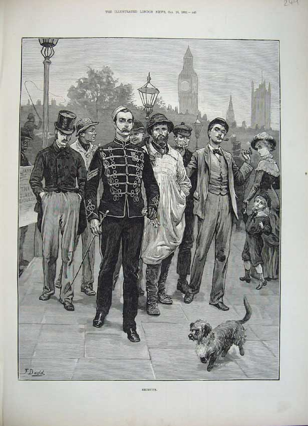 [Print 1882 Fine Art Army Recruits Men Child Woman Dog 249N152 Old Original]