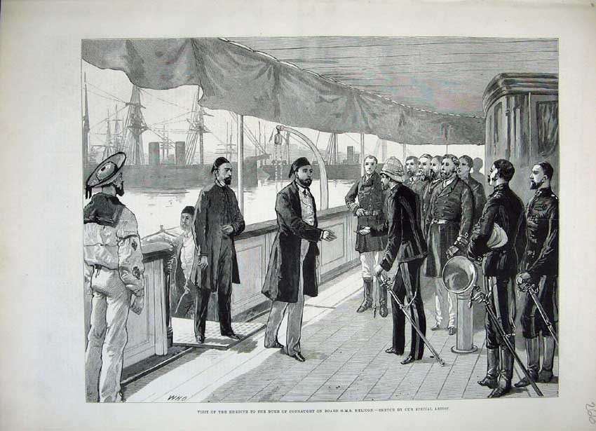 [Print 1882 Khedive Duke Connaught Ship H.M.S Helicon War Army 266N152 Old Original]