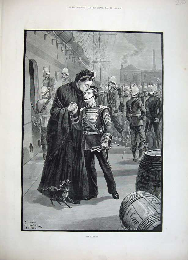 [Print Army Soldiers War 1882 Mother Son Boy Mosses Fine Art 270N152 Old Original]
