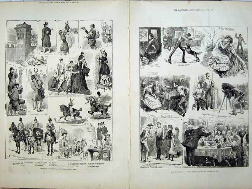 [Print 1882 Royal Army Soldier Review Tommy Atkins War Horses 508Tn152 Old Original]