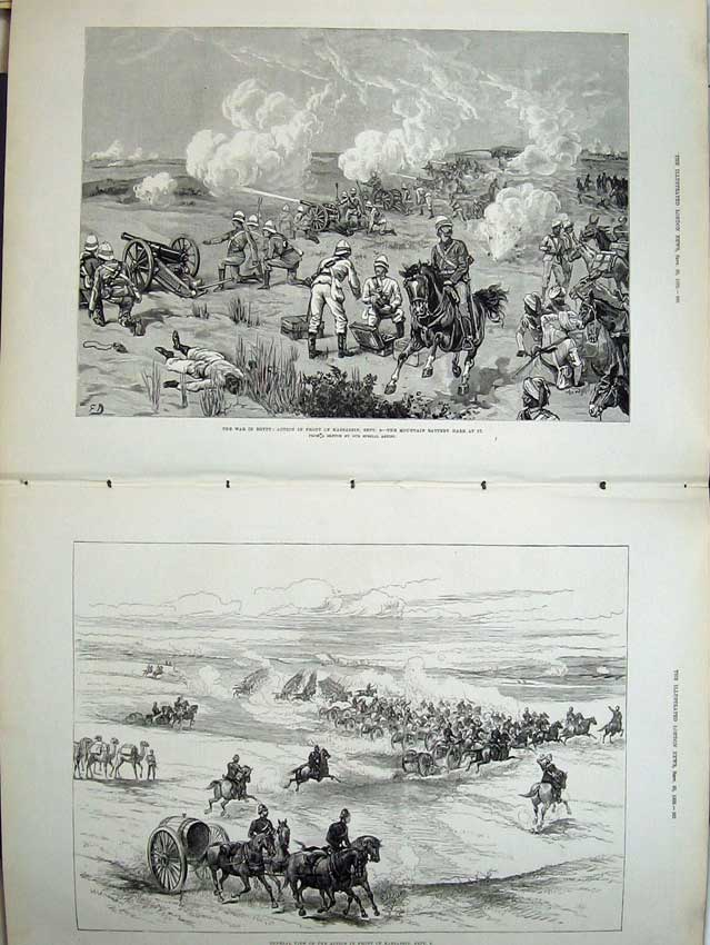 [Print War Egypt 1882 Kassassin Battle Horses Camels Army Men 521Tn152 Old Original]