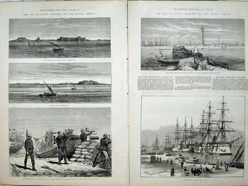 [Print War Egypt 1882 Fort Telegraph Railway Ships Connaught 526Tn152 Old Original]
