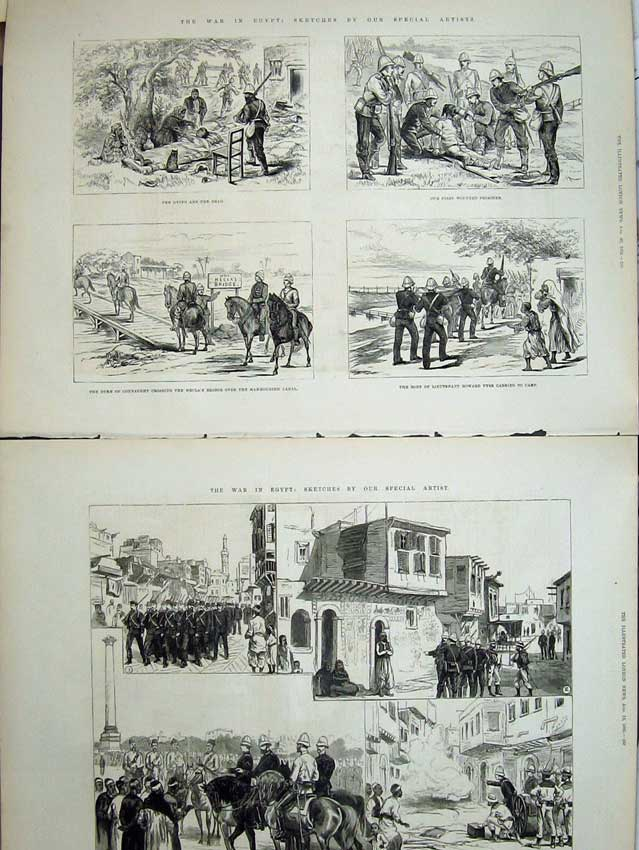 [Print War Egypt 1882 Duke Connaught Mahmoudieh American Army 527Tn152 Old Original]
