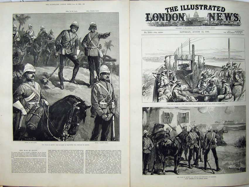[Print War Egypt 1882 Guards Grenadier Armoured Train Ramleh 529Tn152 Old Original]