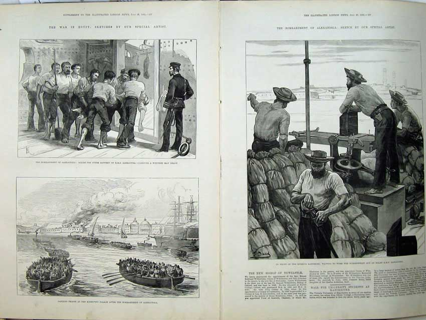 [Print War Egypt 1882 Alexandria Ship Khedives'S Palace Cannon 531Tn152 Old Original]