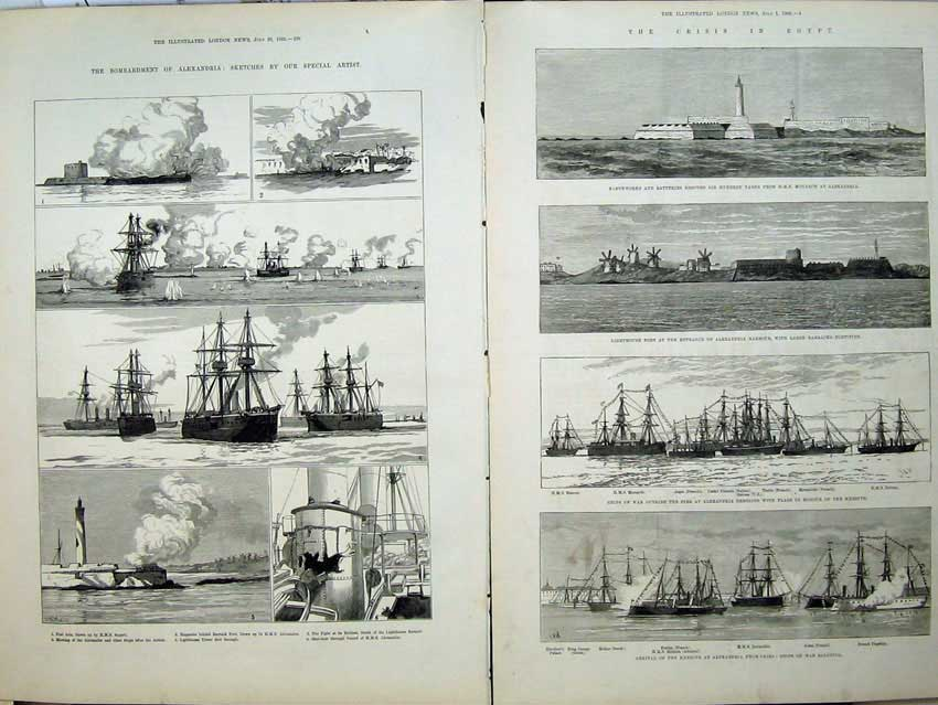 [Print War Egypt 1882 Alexandria Lighthouse Ships Fort Ada Art 532Tn152 Old Original]