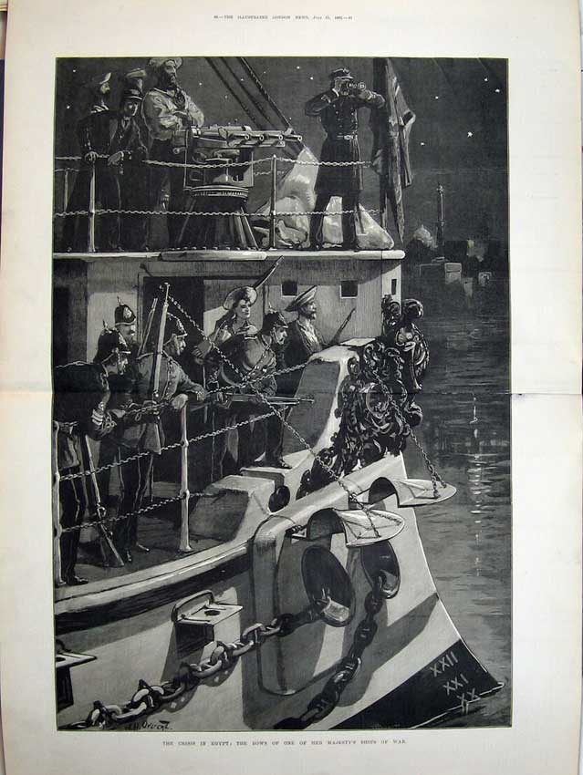 [Print War Egypt 1882 Majesty Queen Ship War Soldiers Army Art 541Tn152 Old Original]