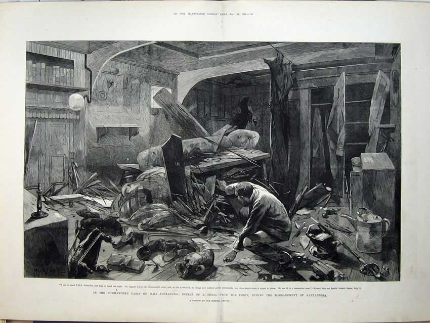 [Print 1882 War Egypt Commanders Cabin Ship Alexandria Bomb 542Tn152 Old Original]