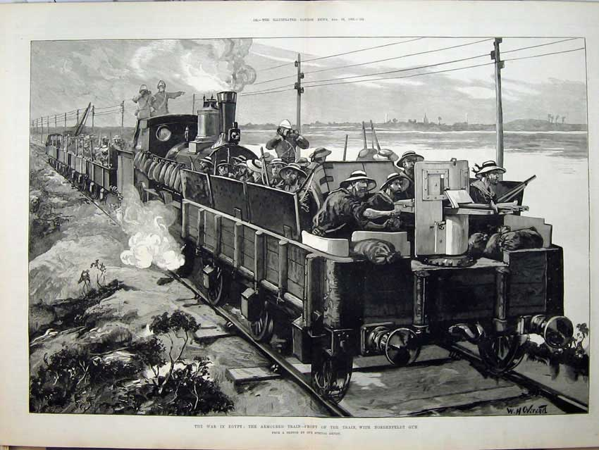 [Print 1882 War Egypt Armoured Train Nordenfeldt Gun Overend 548Tn152 Old Original]