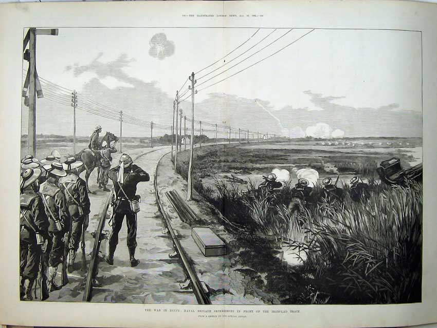 [Print 1882 War Egypt Naval Brigade Ironclad Train Soldiers 549Tn152 Old Original]