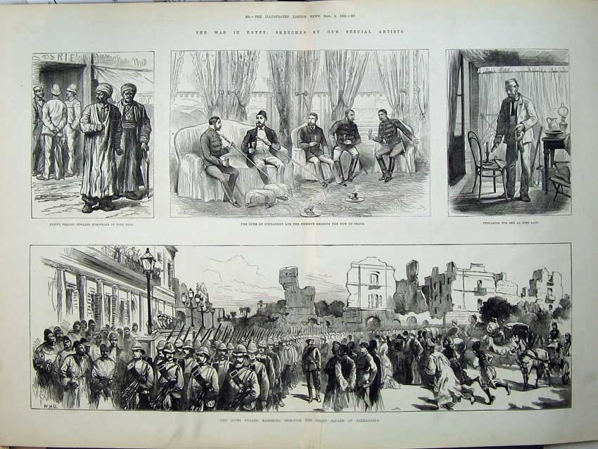 [Print War Egypt 1882 Duke Connaught Khedive Scots Guards Art 551Tn152 Old Original]