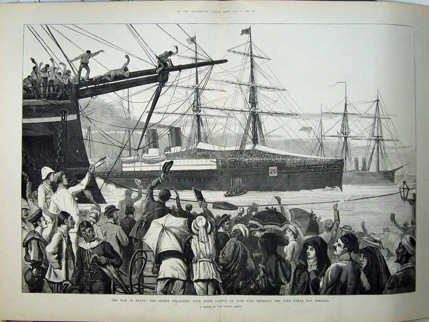 [Print 1882 War Egypt Orient Ship Scots Guards Port Said Suez 552Tn152 Old Original]