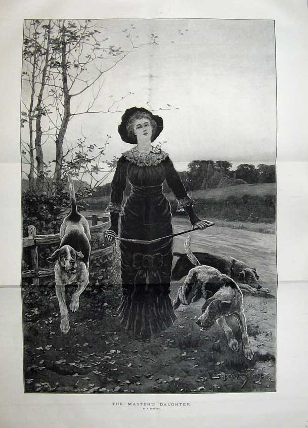 [Print Fine Art 1883 Country Woman Hound Dogs Fence Trees Road 553Tn154 Old Original]