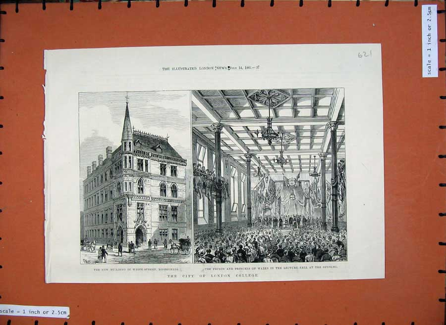 Print London College 1883 Lecture Hall Building Moorfields 621N154 Old Original