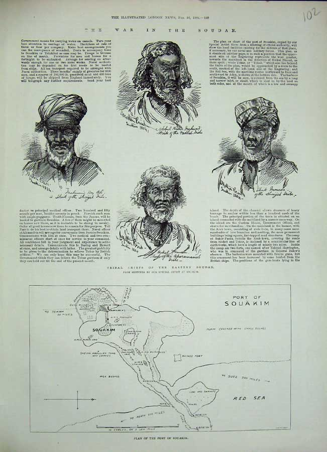 [Print 1884 Plan Port Souakim Tribal Chiefs Men Portrait War 102N155 Old Original]