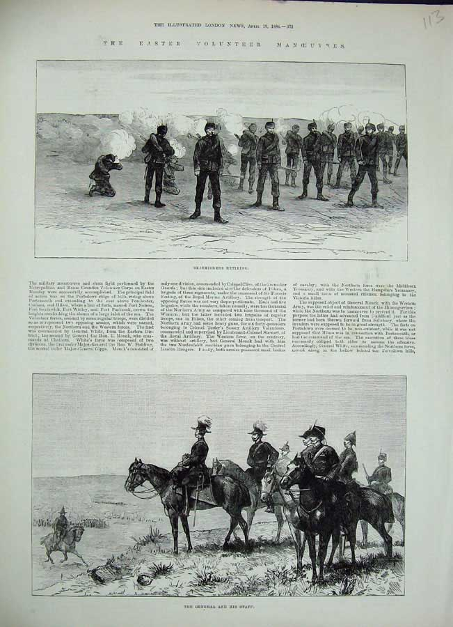 [Print 1884 Easter Volunteer Manoeuvres General War Soldiers 113N155 Old Original]