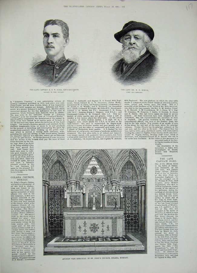 [Print Horne Ford War 1884 Afghan War Memorial Bombay Church 117N155 Old Original]