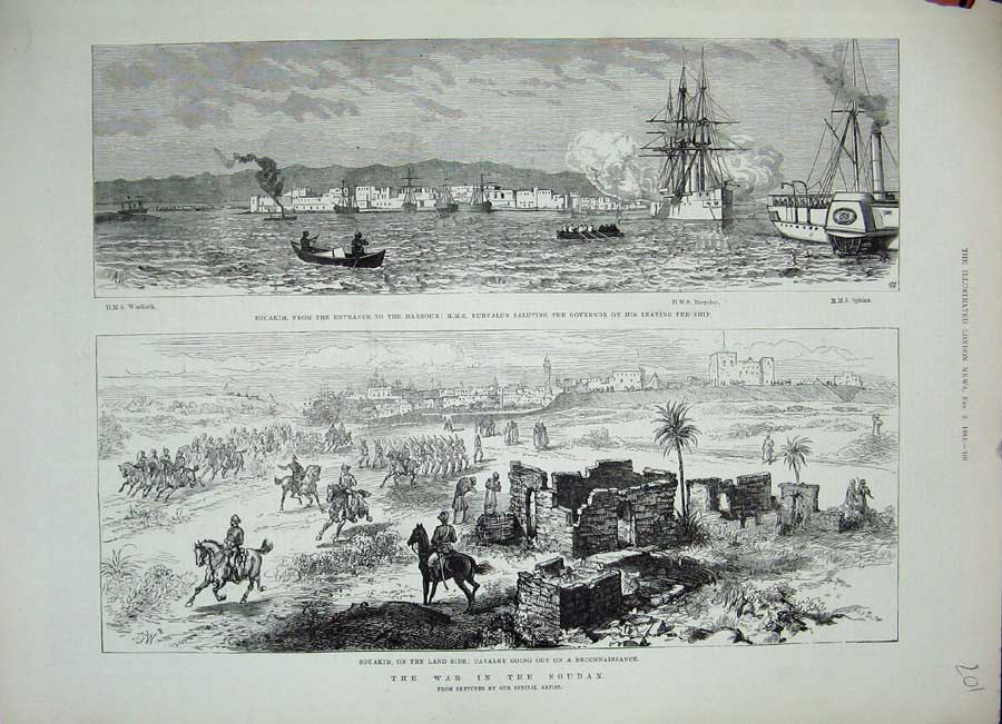 [Print War Soudan 1884Souakim Ship Euryalus Sphinx Soldiers 201N155 Old Original]