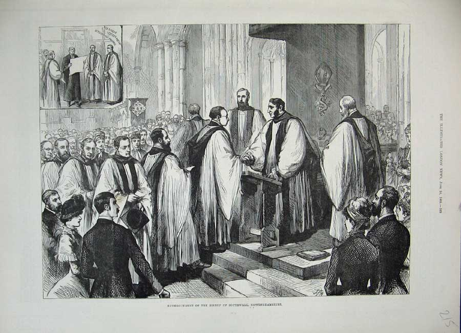 [Print *0241 1884 Enthronement Bishop Southwell Nottinghamshire 215N155 Old Original]
