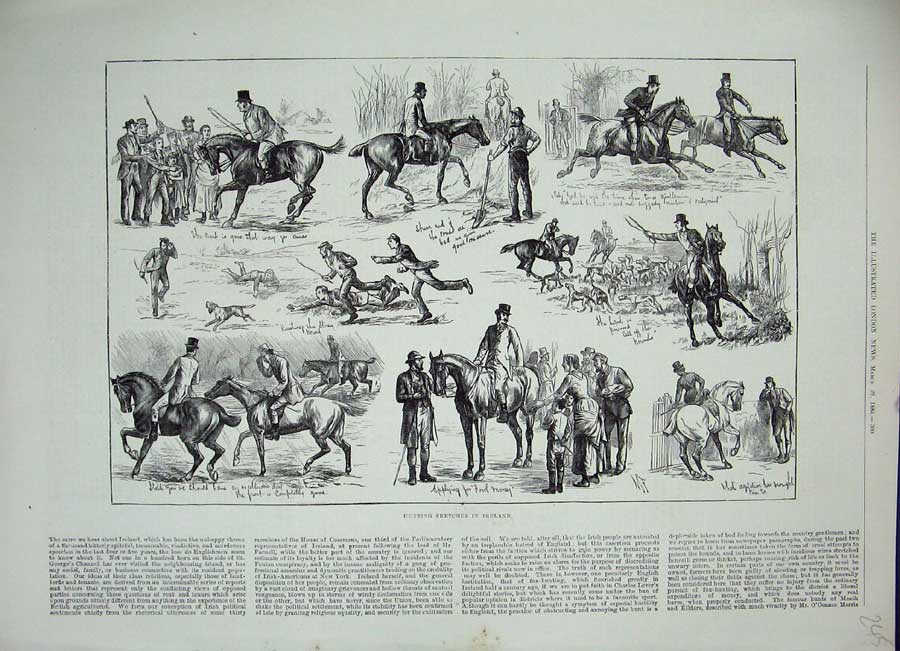 [Print 1884 Hunting Sketches Ireland Sport Horses Dogs Foxes 245N155 Old Original]