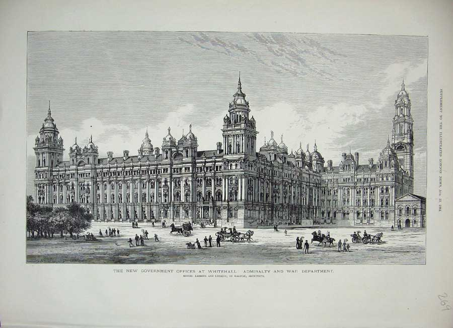 [Print 1884 View Government Offices Whitehall War Department 269N156 Old Original]
