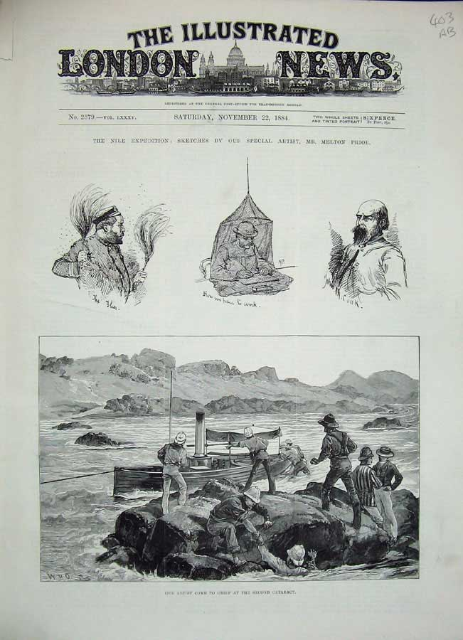 [Print 1884 Nile War River Boat Soldiers Camel Corps Shiek 403An156 Old Original]