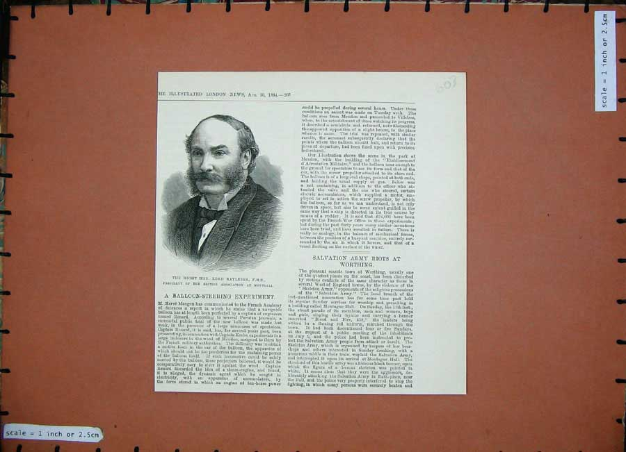 [Print *0242 1884 Portrait Lord Rayleigh President British Montreal 603N156 Old Original]