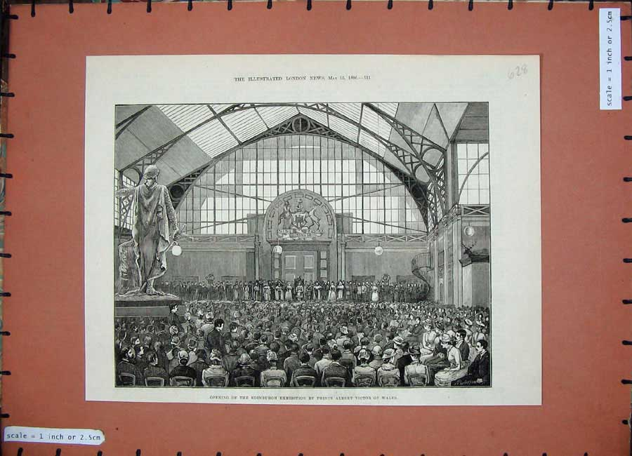 [Print *0246 1886 Edinburgh Exhibition Prince Albert Victor Wales 628N159 Old Original]