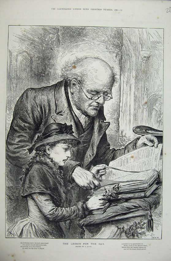 Print 1886 Swain Sketch Man Little Girl Reading Bible 209N160 Old Original