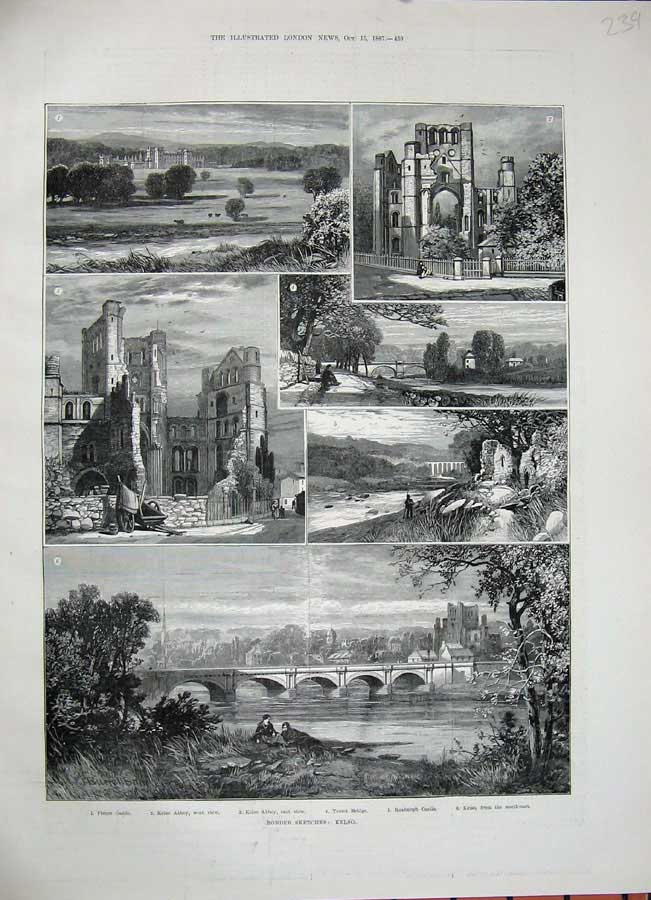 [Print *0248 1887 Kelso Fleurs Castle Abbey Teviot Bridge Roxburgh 239N162 Old Original]