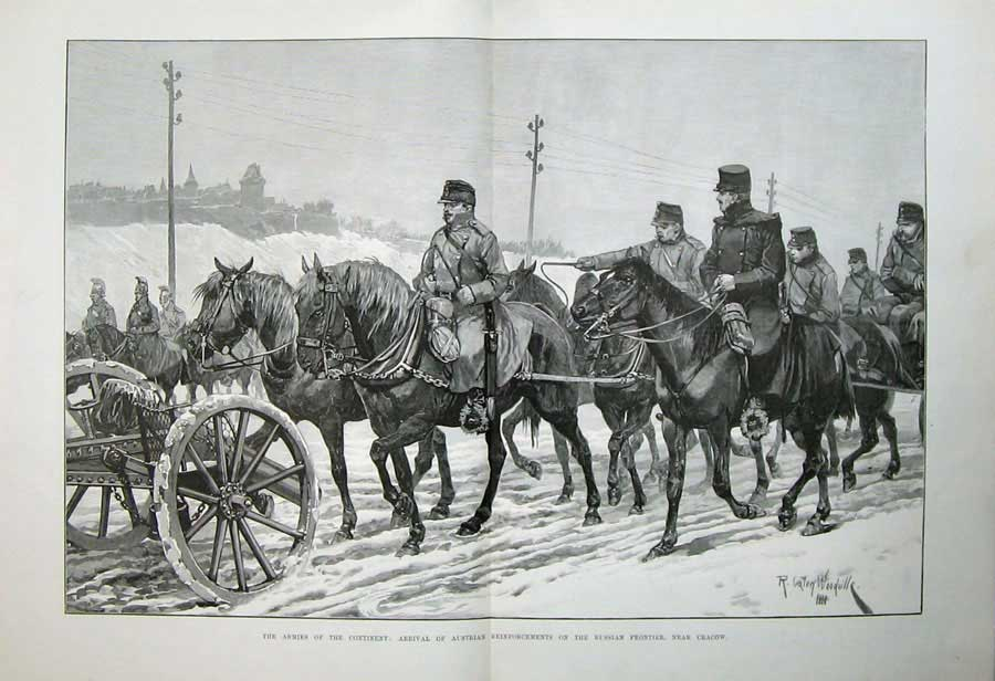 [Print 1888 Soldiers Austrian Army Russian Frontier Cracow War 512Tn163 Old Original]